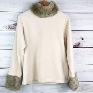 S146 moda international sweater with faux fur trim